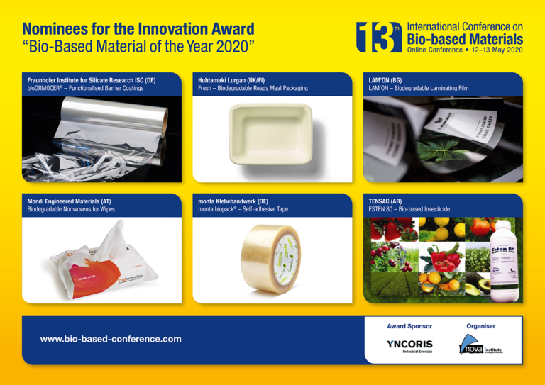 "Nova-Institute announces shortlist ""Bio-based Material of the Year 2020"" finalists"